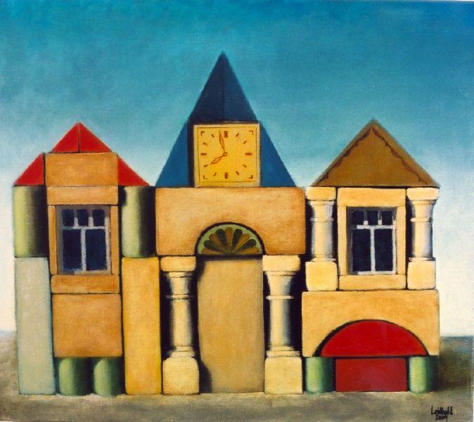 Wolfgang Leidhold, Domicile / Domizil, Egg-tempera & oil on canvas - 35,4 x 31,5 inches - 2003 Tempera & Öl auf Leinwand - 90 x 80 cm - 2003