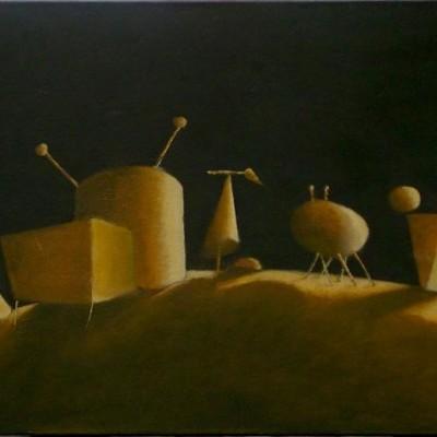 Wolfgang Leidhold, Die Erschaffung der Tiere - Egg-tempera & oil on canvas, 27,5 x 43,7 inches, 2005 Tempera & Öl auf Leinwand, 70 x 111 cm, 2005