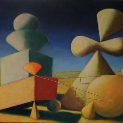Wolfgang Leidhold, Adam und Eva entsetzen sich über den Streit zwischen Kain und Abel - Egg-tempera & oil on canvas, 31,5 x 39,4 inches, 2007 Tempera & Öl auf Leinwand, 80 x 100 cm, 2007