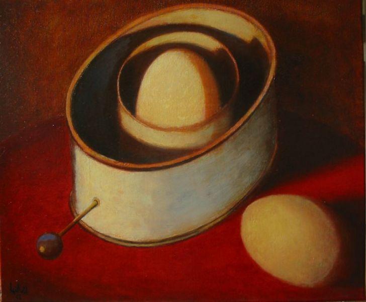 Wolfgang Leidhold, Dream Engine / Traummaschine, Egg-tempera & oil on canvas - 23,6 x 31,5 inches - 2003 Tempera & Öl auf Leinwand - 60 x 80cm - 2003