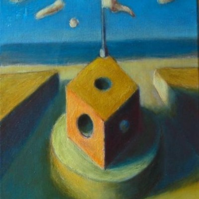 Wolfgang Leidhold, The Outlook / Wachturm, Egg-tempera & oil on canvas - 15,7 x 11,8 inches - 2003 Tempera & Öl auf Leinwand - 40 x 30cm - 2003