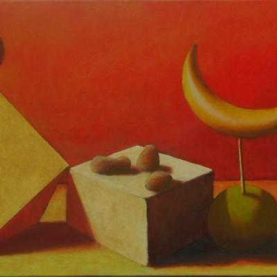 Wolfgang Leidhold, The First Temptation of Christ / Die erste Versuchung Christi, Egg-tempera & oil on canvas, 27,5 x 39,4 inches, 2007 Tempera, Öl auf Leinwand, 70 x 100 cm, 2007