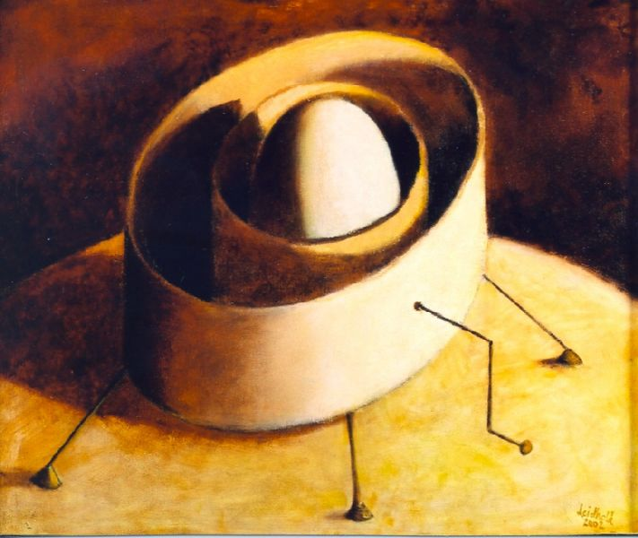Wolfgang Leidhold, Time Machine (Draft) / Zeitmaschine (Entwurf), Egg-tempera & oil on canvas - 11,8 x 15,7 inches - 2003 Tempera & Öl auf Leinwand - 30 x 40 cm - 2003