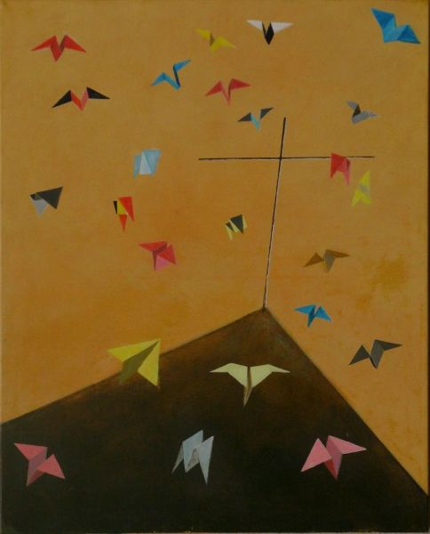 Wolfgang Leidhold, St. Francis preaching to the birds / Der Heilige Franziskus predigt den Vögeln, Egg-tempera & oil on canvas, 39,4 x 31,5 inches, 2007 Tempera, Öl auf Leinwand, 100 x 80 cm, 2007