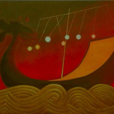 Wolfgang Leidhold, The Eight Immortals Travel Across the Ocean / Die Acht Unsterblichen fahren über das Meer, Egg-tempera & oil on canvas, 31,5 x 39,4 inches, 2007 Tempera, Öl auf Leinwand, 80 x 100 cm, 2007