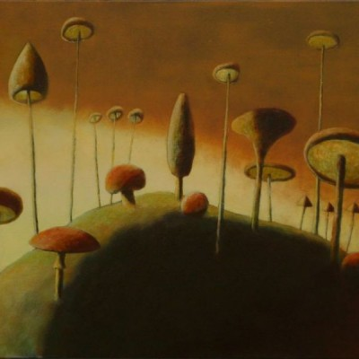 Wolfgang Leidhold, Magic Mushrooms on the Vermillion Mount / Zauberpilze auf dem Zinnoberhügel, Egg-tempera & oil on canvas, 31,5 x 39,4 inches, 2007 Tempera, Öl auf Leinwand, 80 x 100 cm, 2007