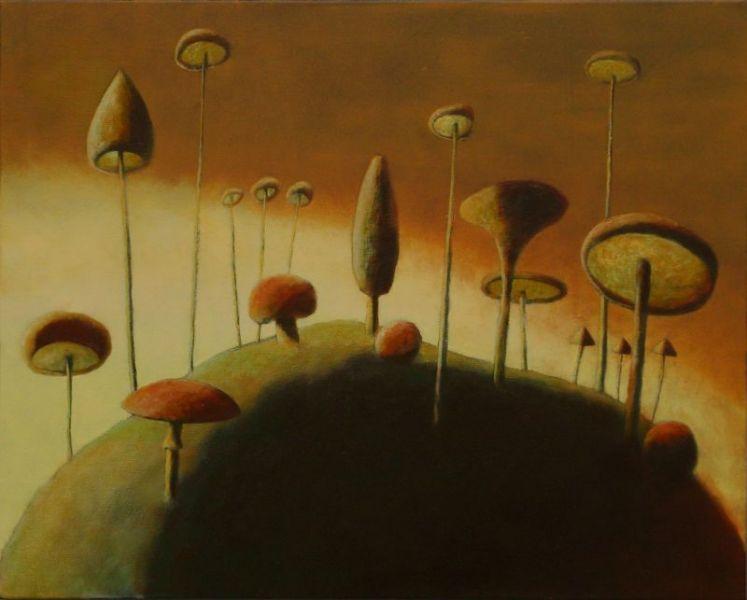 Wolfgang Leidhold, Magic Mushrooms on the Vermillion Mount / Zauberpilze auf dem Zinnoberhügel, Egg-tempera & oil on canvas, 31,5 x 39,4 inches, 2007 Tempera, Öl auf Leinwand, 80 x 100 cm, 2007