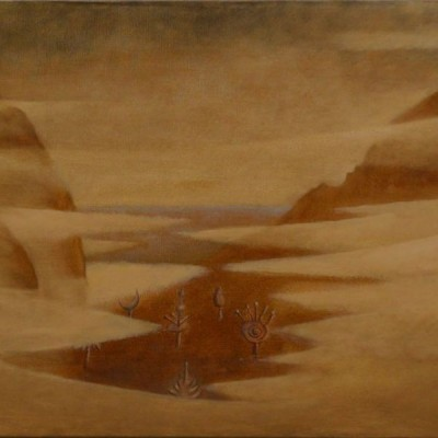Wolfgang Leidhold, Magic Mushrooms on Penglai / Zauberpilze auf Penglai, Egg-tempera & oil on canvas, 31,5 x 39,4 inches, 2007 Tempera, Öl auf Leinwand, 80 x 100 cm, 2007