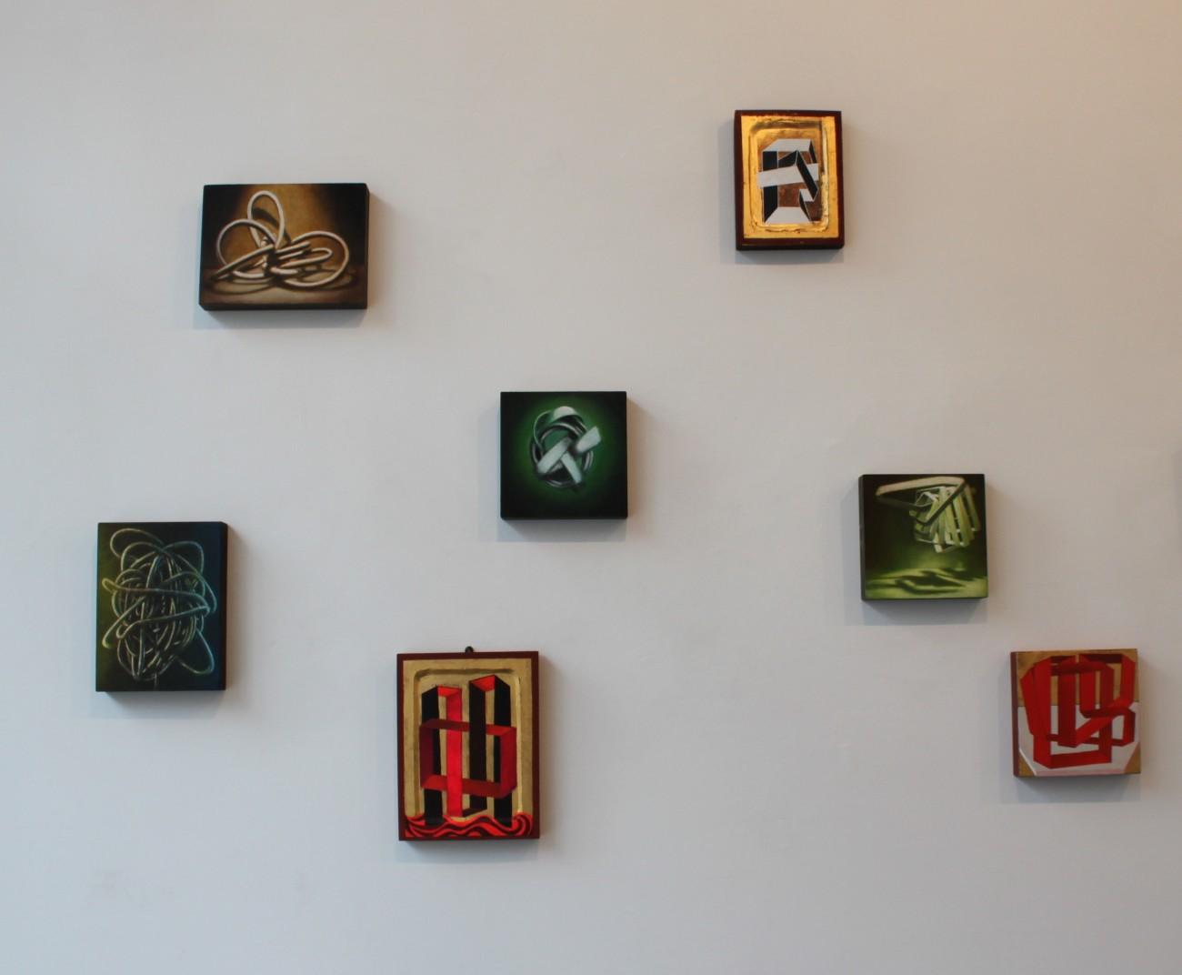 Wolfgang Leidhold, Knots and Icons, Installation view left part, 2014 Knoten und Ikonen, Installationsansicht linker Teil, 2014