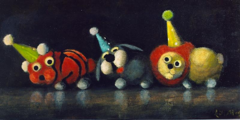 Wolfgang Leidhold, Madigras / Narrenzug, Egg-tempera & oil on canvas - 23,6 x 47,2 inches - 2003 Tempera & Öl auf Leinwand - 60 x 120 cm - 2003