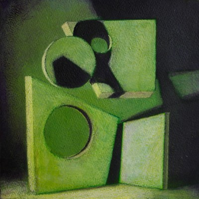 Wolfgang Leidhold, Quantum Picnic Green - Acrylic, egg-tempera & oil on panel, 7,8 x 7,8 inches, 2014