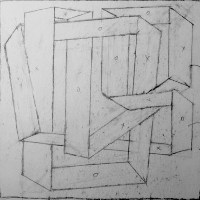 Wolfgang Leidhold, Sketch No 20, Ink on paper - 6,5 x 6,5 inches - 2013 Tinte auf Papier - 17 x 17 cm - 2013