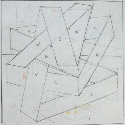 Wolfgang Leidhold, Sketch No 22, Ink on paper - 6,5 x 6,5 inches - 2013 Tinte auf Papier - 17 x 17 cm - 2013