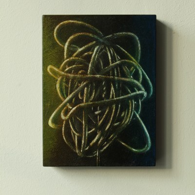 Wolfgang Leidhold, Small Knot No. 11 - Acrylic, egg-tempera & oil on paper mounted on panel, 7,9 x 5,9 inches, 2013 -privat collection- Acryl, Tempera & Öl auf Papier/Tafel, 20 x 15 cm, 2013 -Privatsammlung-