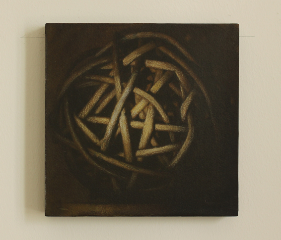 Wolfgang Leidhold, Small Knot No. 19 - Acrylic, egg-tempera & oil on paper mounted on panel, 5,9 x 5,9 inches, 2014 Acryl, Tempera & Öl auf Papier/Tafel, 15 x 15 cm, 2014