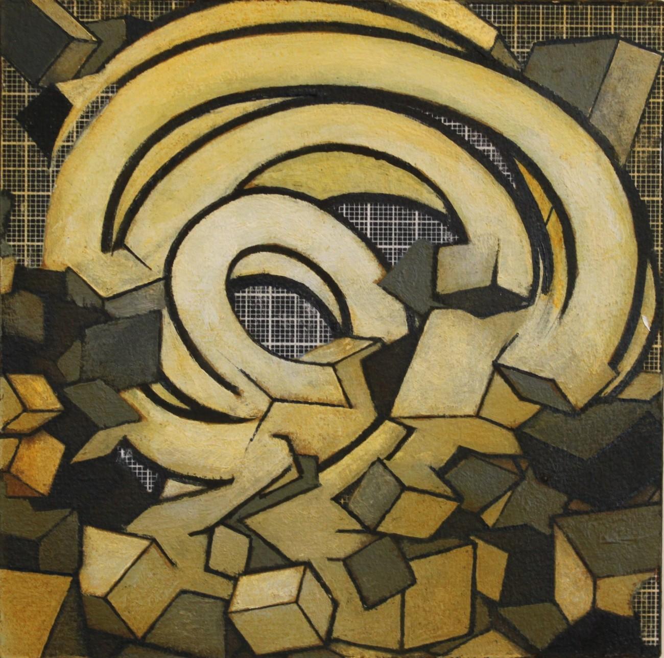 Wolfgang Leidhold, Untitled (Topology No 01) - Acrylic, egg-tempera & oil on panel, 5,9 x 5,9 inches, 2014 Acryl, Tempera & Öl auf Leinwand, 15 x 15 cm, 2014