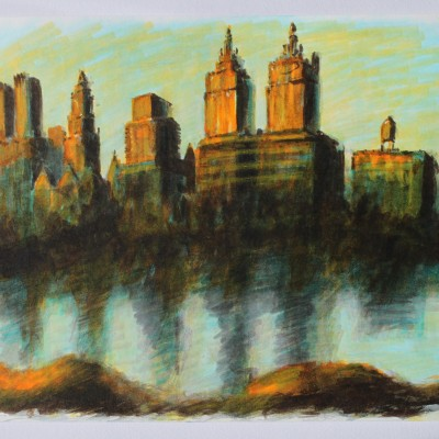 Wolfgang Leidhold, View from Central Park (watercolor on paper) 9,5 x 13 inches, 2013 View from Central Park (Wasserfarben auf Papier) 23 x 33 cm, 2013