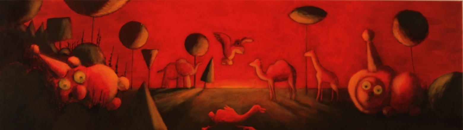 Wolfgang Leidhold, Goose in Paradise / Die Gans im Paradies, Egg-tempera & oil on canvas - 19,7 x 68,9 inches - 2003 Tempera & Öl auf Leinwand - 50 x 175 cm - 2012