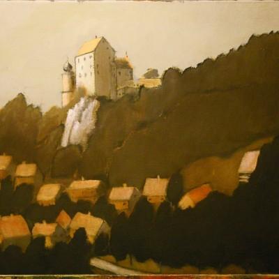 Eggloffstein, Bavaria: The Castle - 60 x 80 -acrylics and oil