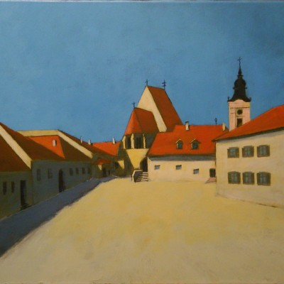 Rust, Austria: Town Hall Square - 60 x 80 -acrylics and oil